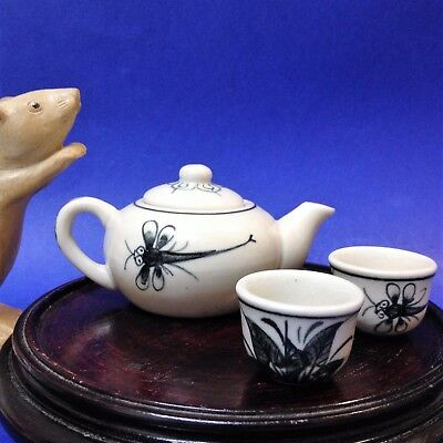 Miniature Porcelain -  Asian - Teapot & Two Cups - Dragonfly Pattern