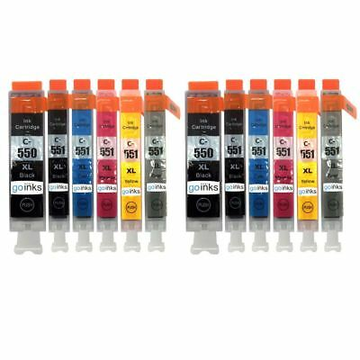 12 Ink Cartridges to replace Canon PGI-550 & CLI-551 (2x Set of 6) Compatible