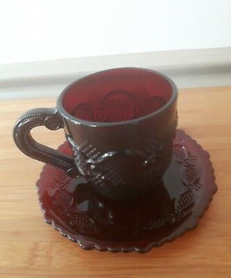 Vintage AVON Cape Cod RUBY RED Tea Cup and Saucer Set
