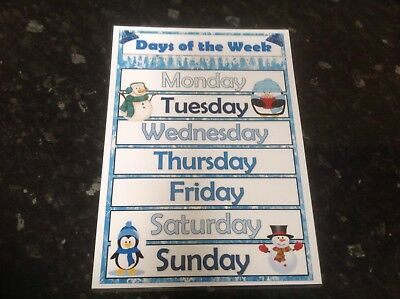 winter themed days of the week poster display for classroom theme ks1 eyfs sen