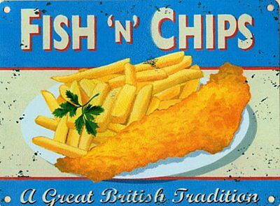Martin Wiscombe FISH AND CHIPS metal sign by Fleur Interiors (c9E)