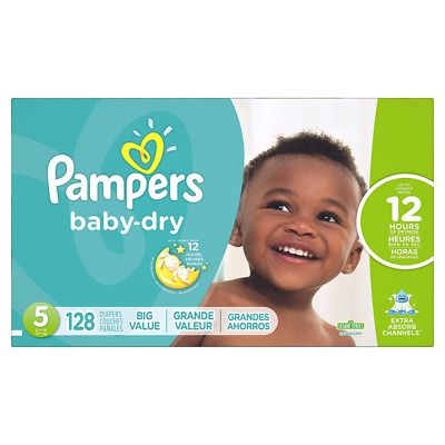 Pampers Baby Dry Diapers Size 5, Economy Pack, 128 Count (Packaging May Vary)