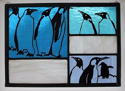 Stained Glass Painted Panel. Penguins on Blue and Icy Glass. Xmas Gift