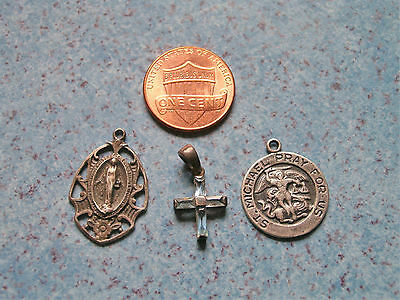 VINTAGE LOT of STERLING SILVER CATHOLIC PENDANTS MEDALS *St. Michael *Mary +