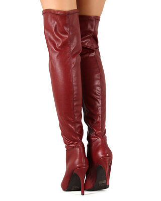 961031b2a New Women Breckelles Beverly-16 Leatherette Pointy Toe Thigh High Stiletto  Boot