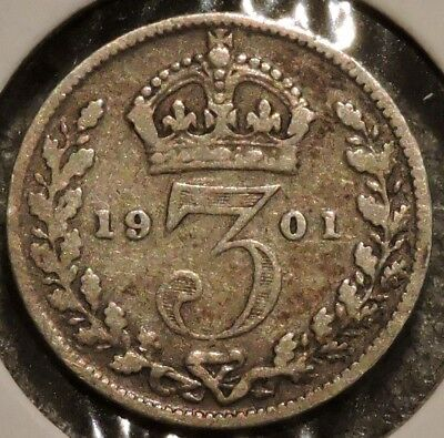 British Silver Threepence - 1901 - Queen Victoria - $1 Unlimited Ship