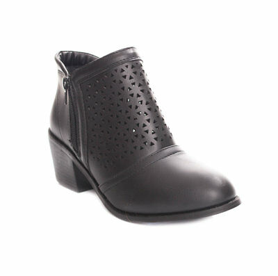 New Soho Shoes Women's Perforated Chunky Heel Low Cut Ankle Bootie Boots