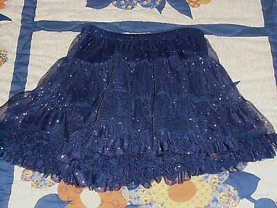 Star Brand Skirt Youth  Size M (7/8) Navy Blue  Polyester Mesh With Cotton Liner