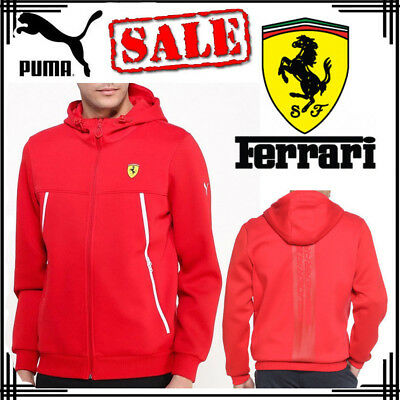 PUMA Scuderia Ferrari Mens Sports Hoodie F1 Motorsport Hooded Tops Jackets Hoody