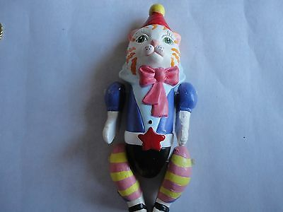 Vtg VANDOR CAT JOINTED CHRISTMAS TREE ORNAMENT 4 1/2 IN. CHALKWARE PELZMAN  1987