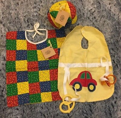 Vintage Baby Bibs Patchwork Floral & Applique Car & Soft Play Toy