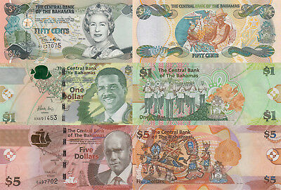 Bahamas 3 Note Set: 50 Cents, 1 & 5 Dollars (2001-2015) - p68, pNew, p72A UNC