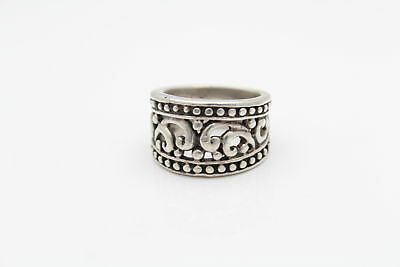 Tribal-Style Openwork Swirl Band Ring in Sterling Silver Size 5.5