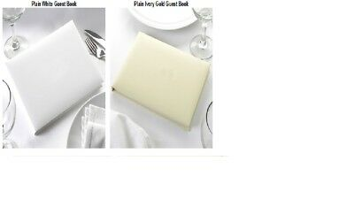 Plain Blank White or Ivory Gold Guest Book. DIY Wedding Guest