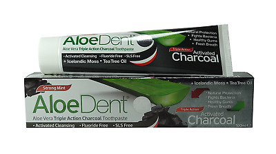 AloeDent Aloe Vera Triple Action Activated Charcoal Toothpaste (100ml)