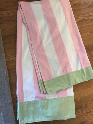 Pottery Barn Kids Fabric Shower Curtain Pink White Green