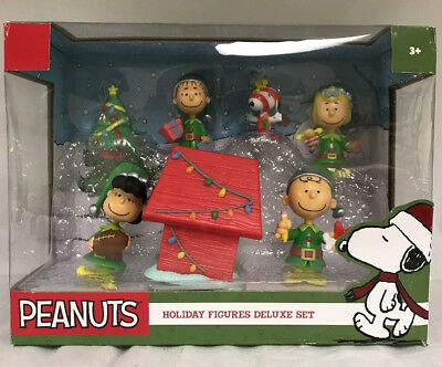 New PEANUTS Holiday Figures Deluxe Set Red Dog House Lucy Football Christmas 7pc