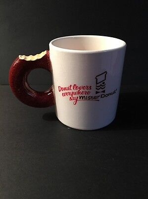 Old Vtg MISTER DONUT Diner COFFEE MUG Cup ADVERTISING Donut Lovers Everywhere