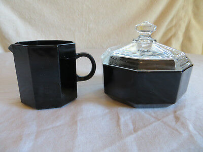 Vintage Arcoroc France Octime Black Sugar Bowl With Lid And Creamer Set Disc Euc