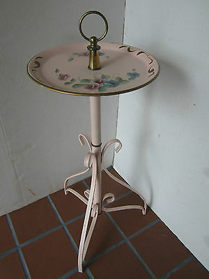 "MID CENTURY Toleware metal stand TABLE scroll legs retro USA 1940's Pink 27""T"
