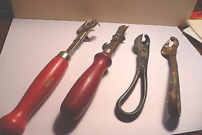 LOT 2 MID CENTURY retro CAN OPENERS 2 antique all metal openers