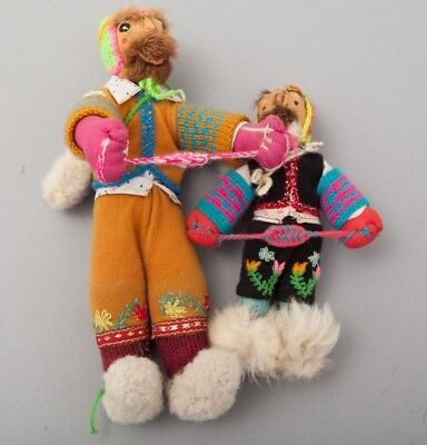 Vintage Wonderful Pair of Handmade Dolls with Fur, Leather & Wool/Chancay/Bunad