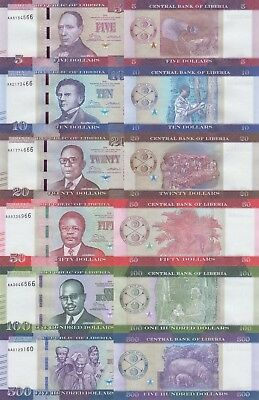 Liberia 6 Note Set: 5 to 500 Dollars (2016) - All pNew UNC