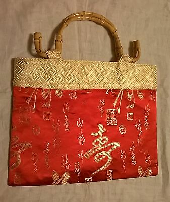 New Asian Chinese writing bag purse red and gold bamboo handle Mother's Day gift