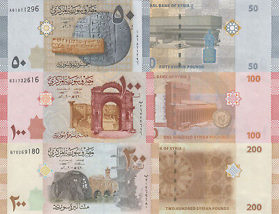Syria 3 Note Set: 50 to 200 Pounds (2009) p112-114 UNC