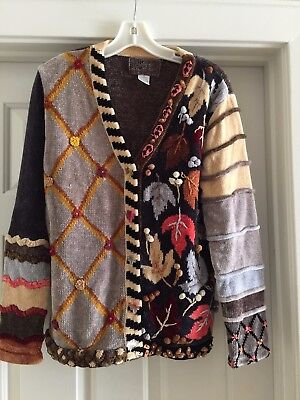 Thanksgiving Sweater-one of a kind.Unique detailing w/yarn,buttons Women'sSmall