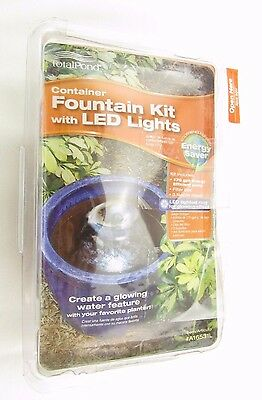 Total Pond Container Fountain Kit with LED Light 3 Nozzle Heads Included