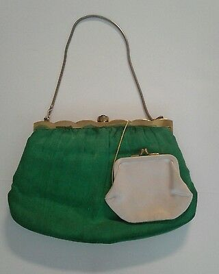 Vtg Ingber Evening Purse Gold Trim Silk Clutch Change Purse Vintage Handbag