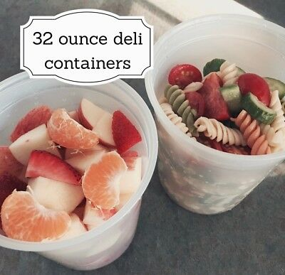100 Quart Size 32 oz.Translucent Plastic Deli Containers w/Lids. Made in USA