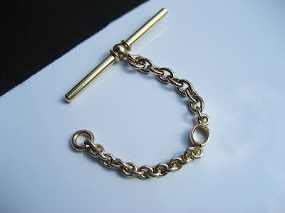Antique Victorian Art Deco era 14K Yellow Gold T Bar Watch Chain Linked