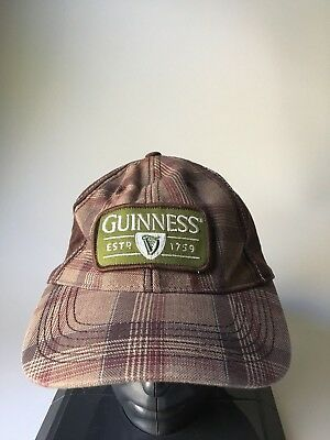 Official Guinness Beer Baseball Cap Plaid Brown Green
