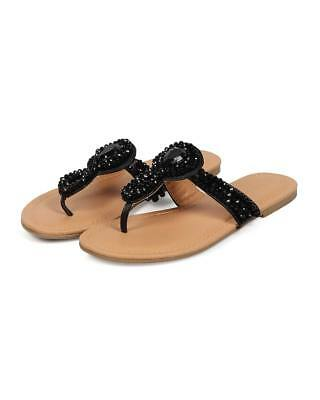 f9b6ba35249a60 New Women Wild Diva Livia-113 Leatherette T-Strap Beaded Slip On Thong  Sandal