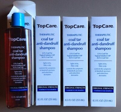 4x 8.5oz TOP CARE Coal Tar Anti-Dandruff Shampoo Compare Neutrogena T/Gel
