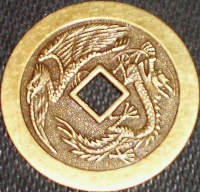 Lucky Dragon / Phoenix Casino Poker Card Guard Chip Token Chinese Coin Feng Shui