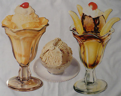 Vtg Advertising Litho Sign Ice Cream Parlor Sundaes Pineapple Banana Split +More