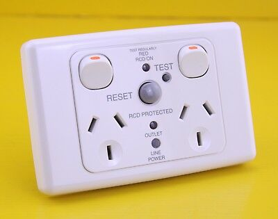 Clipsal 2025RCD30 RCD Protected Twin Switched Socket Outlet 240V 10A 2P 30mA