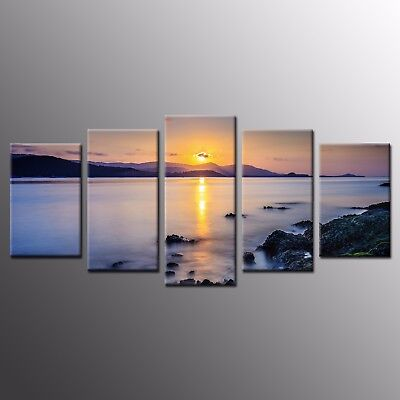 HD Canvas Art Prints Seaside Sunset Canvas Painting Wall Art Home Decor 5pcs