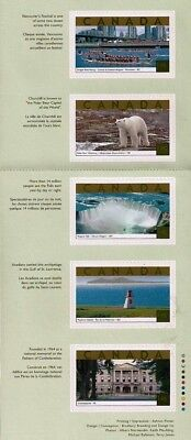 Canada Stamps — Unfolded Pane of 5 — Tourist Attractions #1990i — MNH