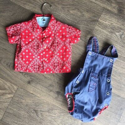 Vintage Baby Boy Set Baby Chambray Red Romper Sun Suit Bandanna Hanky 6 Months