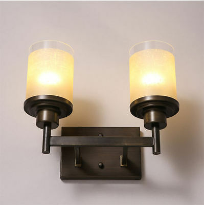 Double Candle Pillar Wallmount E27 Light Antiqued Metal & Glass Wall Sconce