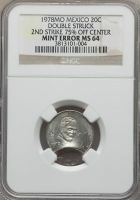 1978-Mo MEXICO 20C MINT ERROR DOUBLE STRUCK 2ND STRIKE 75% OFF-CENTER NGC MS64