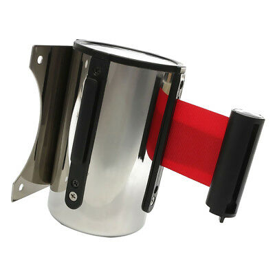 5M Red Belt Stanchion Queue Barrier Wall Retractable Ribbon Durable