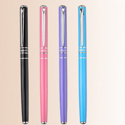 2018 Hero 448 Thin Metal China Fountain Pen Push Cap Extra Fine Nib 0.38mm Gift