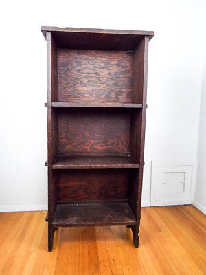 Antique Arts and Crafts Mission Style Dark Wood Bookcase Small Wooden Book Case
