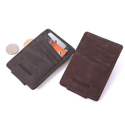 Men's Hot Fashion Genuine Leather Wallet ID Credit Card Mini Coin Money Clip