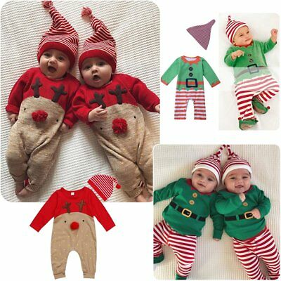 Xmas Reindeer 2/3Pcs Newborn Toddler Baby Boys Girls Clothes Romper Outfits Set
